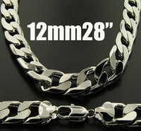 Wholesale King Chain 925 - 1pcs Fashion 925 Silver Necklace 12mm 28inch Men's Curb Chains Necklace 28inch 71cm King-Size