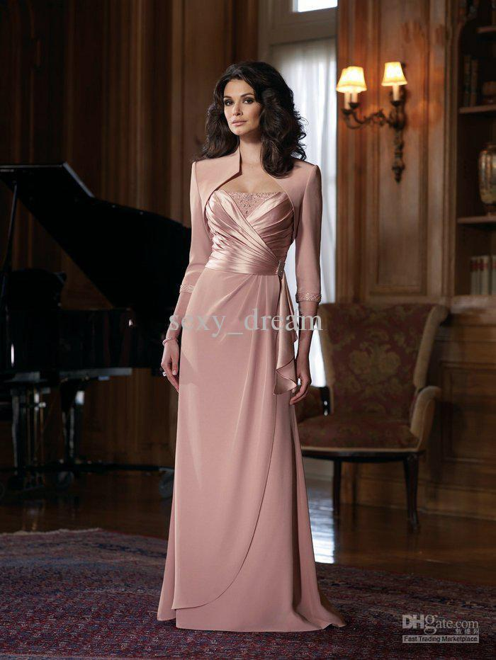 New Exquisite Mother Of The Bride Dress Pink Color With Jacket ...