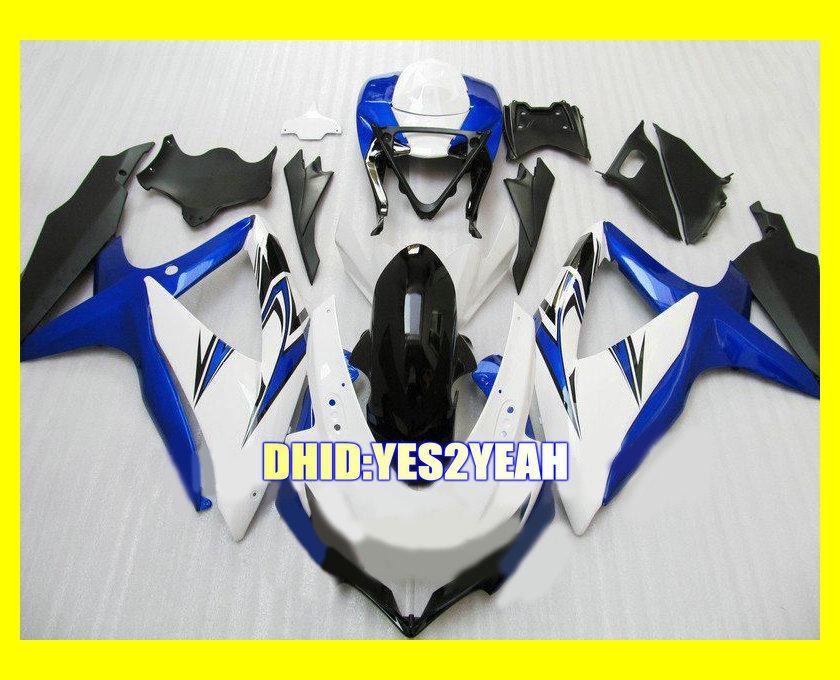 Blauw Wit Zwart ABS Fairing Kit voor Suzuki GSXR600 750 08 09 GSX-R600 750 GSXR600 GSXR750 K8 2008 2009 Verklei Set + 7Gifts