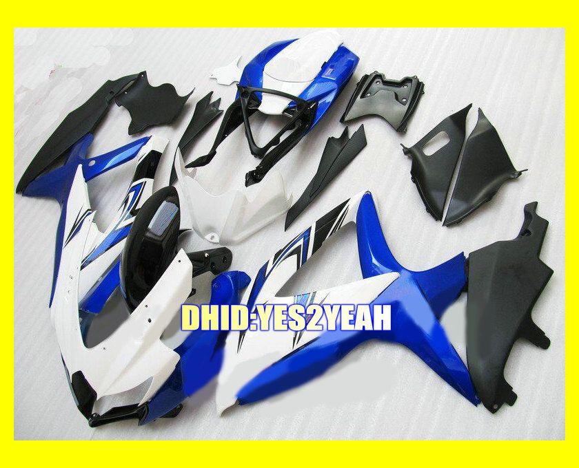 Mavi beyaz siyah SUZUKI GSXR600 750 08 09 için ABS Fairing kiti GSX-R600 750 GSXR600 GSXR750 K8 2008 2009