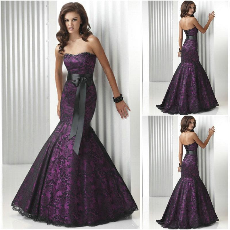 Hot Sale Sweetheart Corset Gothic Purple Wedding Dress: Purple Black Mermaid Trumpet Floor Length Bows Waist