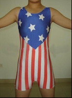Compra Pvc Nazionale-Pro Lycra Spandex Wrestling Singlet Giovane Usa Bandiera Nazionale Pattern Outfit Shorts Costume