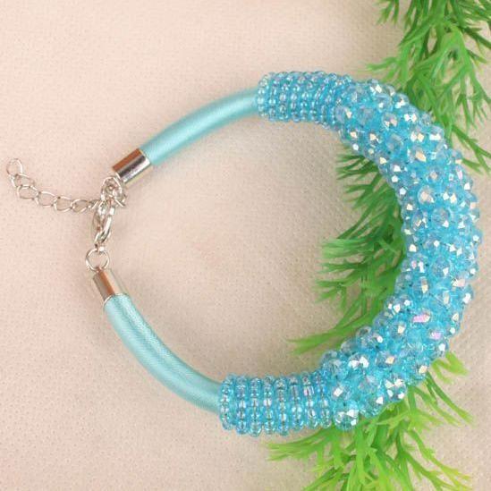 Ny Ankomst Blue Crystal Faceted Bead Choker Halsband Armband Smycken Set Kvinnors Party Smycken