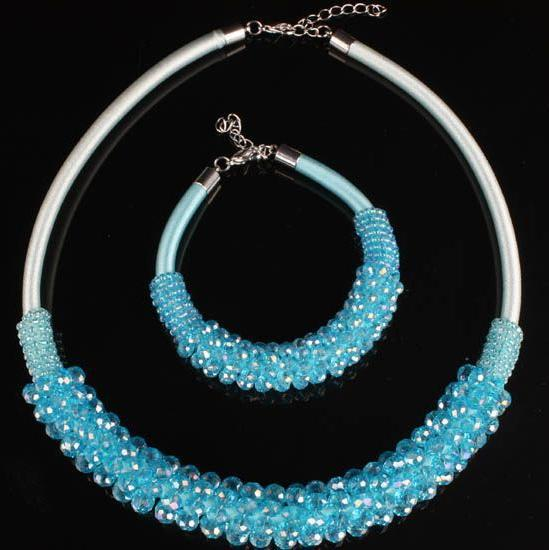 New Arrive Blue Crystal Faceted Bead Choker Necklace Bracelet Jewelry Set Women's Party Jewelry