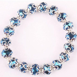 Wholesale Glass Pearl Strands - New Arrive Dark Blue Crystal Glass Faceted Bead Stretchy Bracelet Crystal Bangle Women's Jewelry