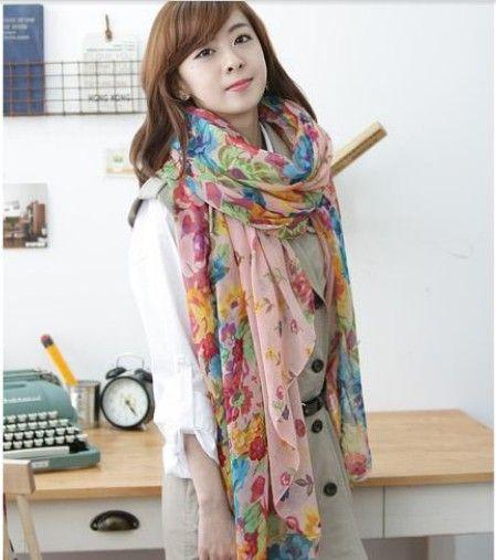 Fashion Voile Scarf Korean Women Colorful Scarf Soft Scarves Elegant Shawls