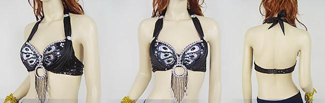 Wholesales -- New Womens Glitter sexy belly dance costume peacock bra Top paillette Beads tassels