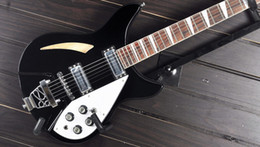Wholesale Rick Electric - On sale 6 String 330 Rick Semi-Hollow Body Black Electric Guitar In Stock
