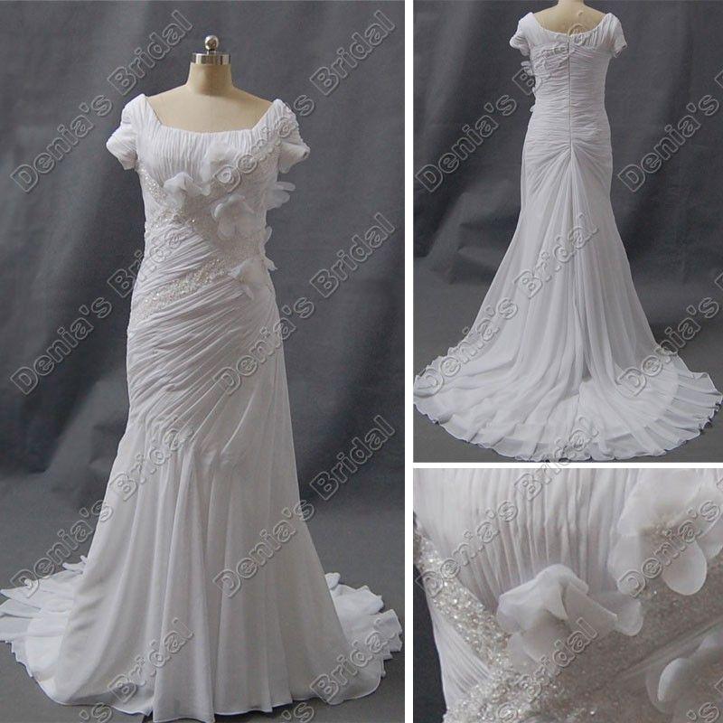 Vestido de novia de manga corta modesta plaza vaina escote acanalada 3D Flores corte moldeada tren DB33