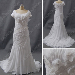 Wholesale Modest Sheath Wedding Dresses - Modest Short Sleeve Wedding Dress Sheath Square Neckline Ruched 3D Flowers Beaded Court Train DB33
