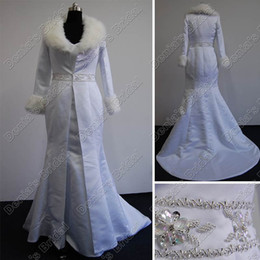 Wholesale White Real Fur Wrap - White Ivory Winter Beaded Bridal Wedding Jacket Cloak Faux Fur Collar Cape Real Actual Images DB36