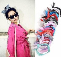 Wholesale Korean Cute Headband - Cute Korean Dots Bunny Rabbit Ear Ribbon Headwear Hairband Metal Wire Scarf Headband Hair Band Accessories Headwear
