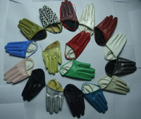 Wholesale Wholesale Half Leather Women Gloves - 2017 new fashion colorful SEX AND THE CITY half palm short glove fashion 5-finger half leather gloves 10pairs lot