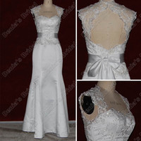Wholesale Lace Key Hole Back Dress - Mermaid Sweetheart Lace Satin Wedding Dress Key Hole Back Beaded Sash Sweep Real Actual Images DB41