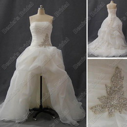 Wholesale Strapless Bridal Gown Long Train - 2013 Beach Wedding Dresses Short Front and Long Back A Line Beaded Embroidery Organza Real Hi Lo Summer Bridal Gown inspired by SPK470