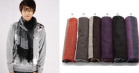 Wholesale Large Circle Scarves - Men's Long Scarf Winter Warm Wool Cashmere Stripes Unisex Scarves Outdoor Wear Men's Accessories New
