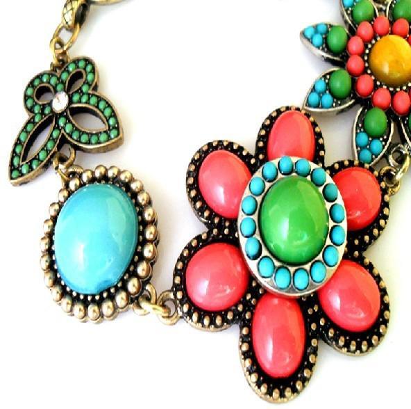 럭키 팔찌 세련된 레트로 멀티 컬러 다이아몬드 팔찌