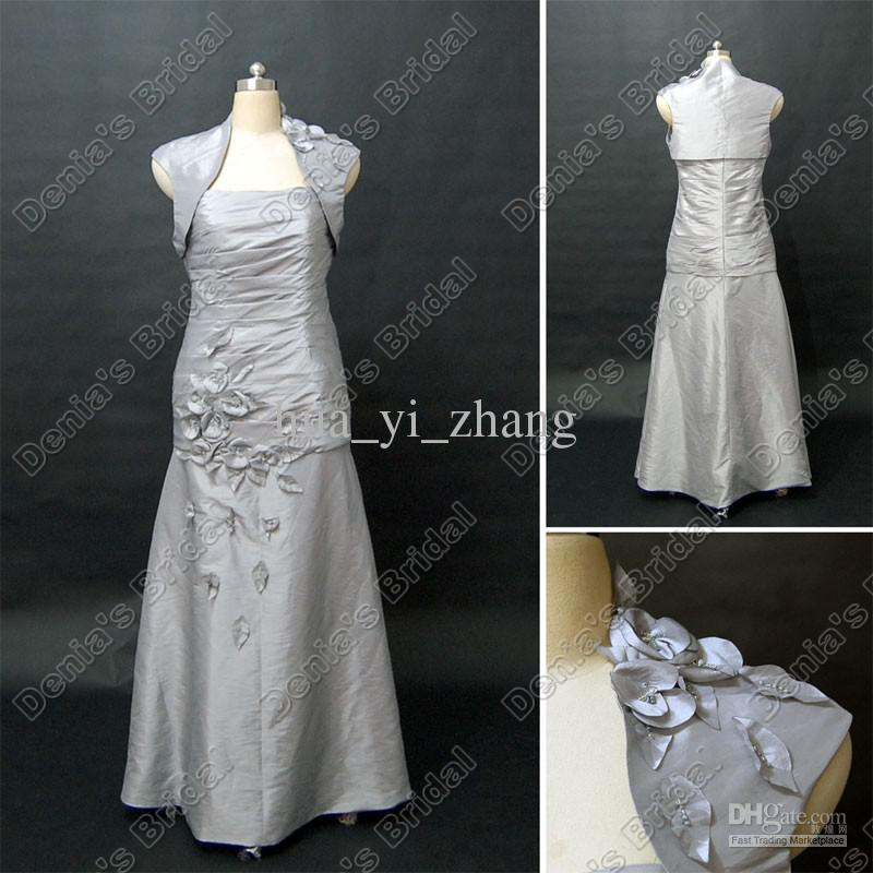 A Line Silver Color Mother Of Bride Groom Dress With Cap Sleeve Wrap