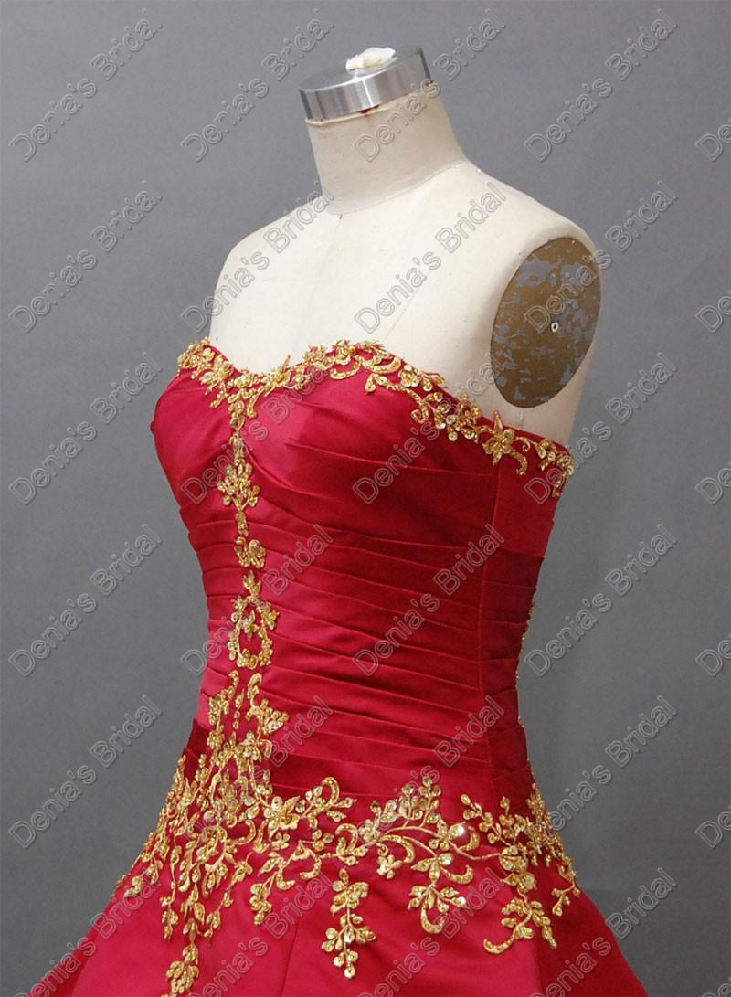 2015 Jul Luxury Red Wedding Ball Gowns Preats Ruching med guldfärg Broderier Faktiska Real Images DB62