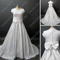 Wholesale Actual Images Dress Short - Modest Short Sleeves Wedding Dress Ivory White With Beaded Embroideries Lace Real Actual Images DB54