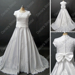 Wholesale Beaded Ribbons - Modest Short Sleeves Wedding Dress Ivory White With Beaded Embroideries Lace Real Actual Images DB54