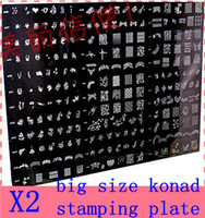 Wholesale Big Size Stamp Nail - 2PCS big size konad stamping plate Stamp Image Plate Stamping Nail Art DIY Image Plate Template