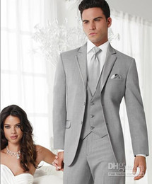 Wholesale Groom Waistcoat Tie - Wholesale - Hot Recommend Grey Colour Wedding Party Groom Tuxedos (clothes+pants+tie+waistcoat)