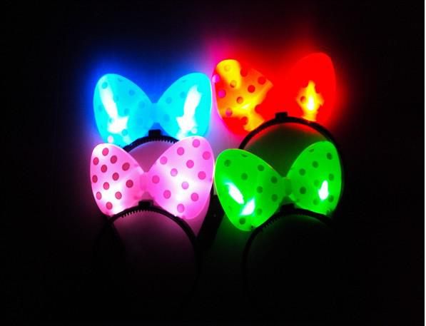 LED TOYS The Newest Christmas LED Butterfly Knot Hair Clip/Pins Headbands Party Stock RB0011