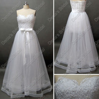 Wholesale Asymmetrical Train Wedding Dress - Sexy Bridal Gown Two-In-One A-line Princess Sweetheart See Through Floor Length Tulle Wedding Dress