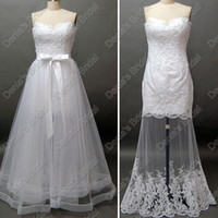 Wholesale Strapless Wedding Dresses Detachable - Two in One Strapless Beach Lace Wedding Dress layered detachable Over skirt Actual Real Images DB65