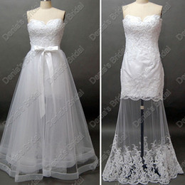 Wholesale Layered Lace Wedding Dress - Two in One Strapless Beach Lace Wedding Dress layered detachable Over skirt Actual Real Images DB65