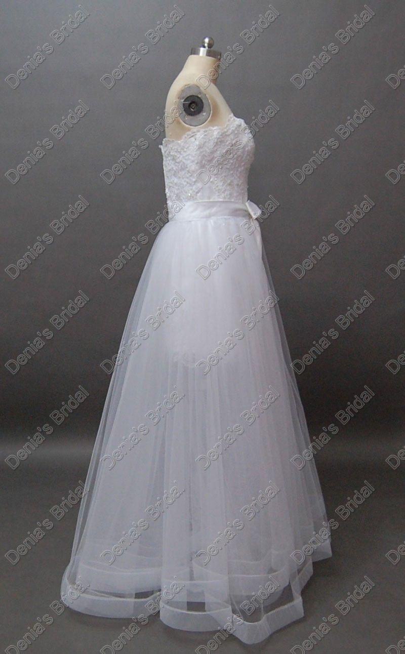 Deux en une robe bustier en dentelle de mariage de plage amovible Plus jupe posés réelles images réelles DB65