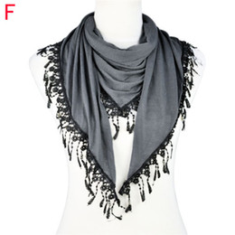 Wholesale Handmade Jewelry Sale - Hot sale women autumn scarves and shawls ,Fringe Lace triangular Tassel scarf with jewelry beads scarf , NL-1891