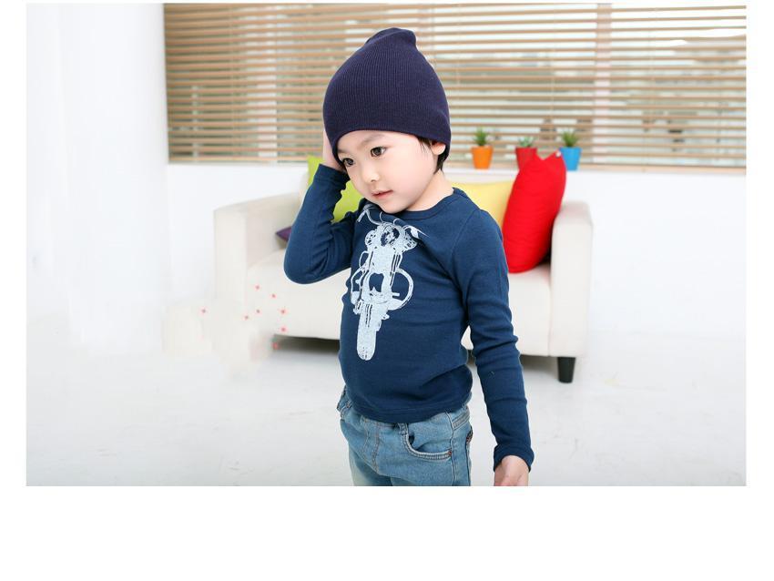 새로운 어린이 소년 오토바이 긴 프라이머 T 셔츠 아이 셔츠 블루 레드 화이트 SZ66의 edison168 슬리브