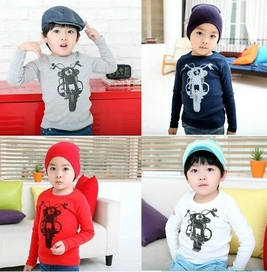top popular new children boys motorcycle long sleeve primer T-shirt kid shirt blue red white SZ66 edison168 2020