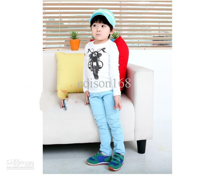 nova motocicleta crianças meninos manga comprida T-shirt cartilha camisa do miúdo azul edison168 SZ66 branco vermelho