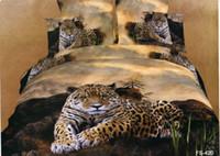 Wholesale Duvet Tiger Queen - Bedding Supplies 3D coloured Oil painting Animal tiger leopard grain duvet cover set quilt cover flat sheet pillowcases 4 pcs bedding set