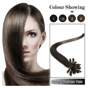 "wholesale -200s/pack 0.8g/s 14''- 24"" Keratin Stick u Tip Human Hair Extensions Indian hair 2# dark brown dhl Fast shipping"