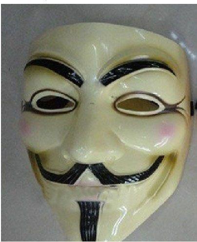 Vendetta Team Guy Fawkes Masquerade Halloween Carnaval Mask volwassen grootte, 40 g, lichtgeel, / CPA