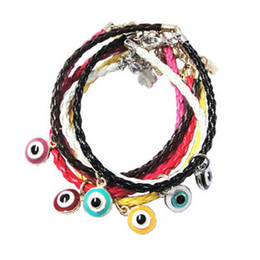 Wholesale Leather Braided Evil Eye Bracelets - hot sale evil eye pedant braided leather chain lucky bracelet cheap jewelry bangle free shipping