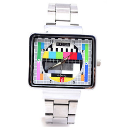 StainleSS panel online shopping - 2013 Men Women JIALILEI TV Panel Watch TV Logo Quartz Watches Unisex Stainless Steel Band Wristwatch bracelets charm jewelry
