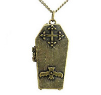 Wholesale Vampire Bats - Vintage Style Bronze Vampire Bat Cross Locket Opened Box Pendant Necklace 12pcs lot