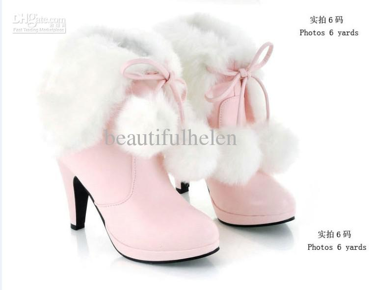 Fashion Knight Boots Women's Martin Boots Warm Snow Boots Warm Boots Knight Boots Pink Black White