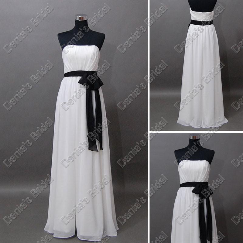 2017 wit en zwart bruidsmeisje jurken strapless chiffon sjerp vloer lengte daadwerkelijk echte beelden feestjurken DB194