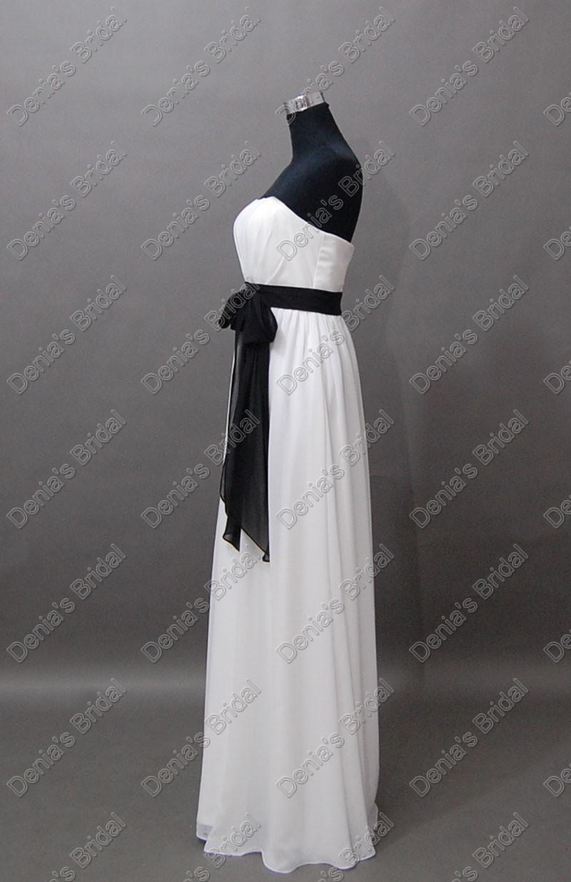 2017 weiße und schwarze Brautjungfernkleider trägerlosen Chiffon-Schärpe bodenlangen tatsächliche reale Bilder Party Kleider db194