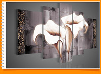 Wholesale High End Oil Painting - Framed 5 Panels 100% Handmade High End Amazing White Flower Calla Lily Oil Painting on Canvas Black and White Wall Art 5 Piece Picture T105
