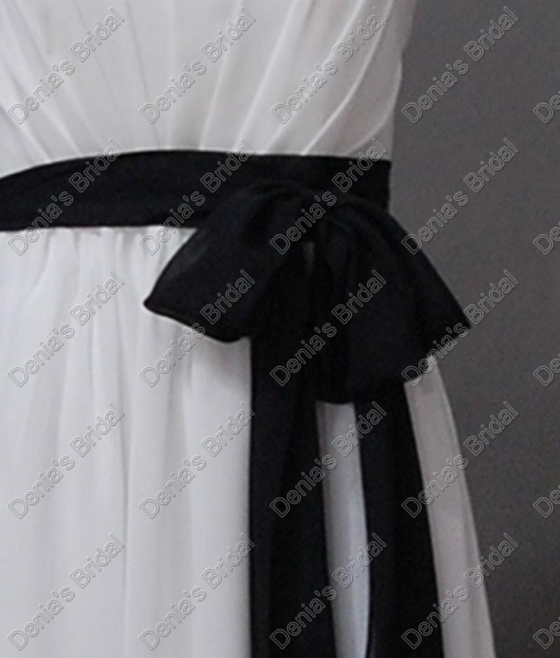 2017白と黒の花嫁介添人のドレスストラップレスシフォンサッシの床の長さ実際の実質画像パーティのガウンDB194