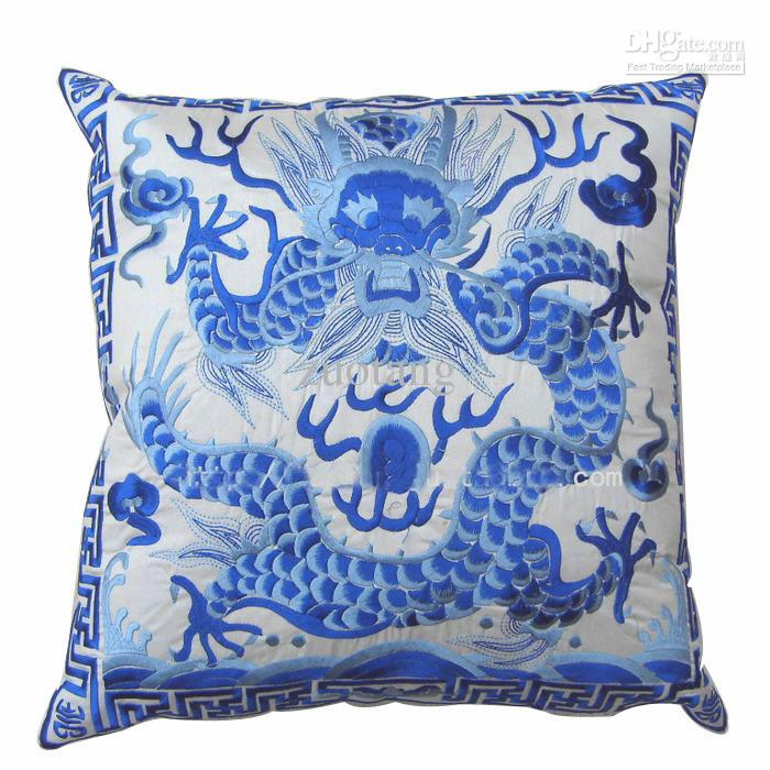 Dragon Full Embroidery Chinese Cushion Cover Christmas Pillowcase Decorative Chair Sofa Cushions Satin Ethnic Cushion Cover 45x45cm