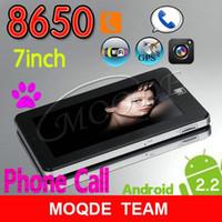 gsm tablette telefone großhandel-Anruf GSM über 8650 Android Tablet 256 MB 4 GB + 1 SIM Port + Externe 3G (EMS / DHL / UPS)