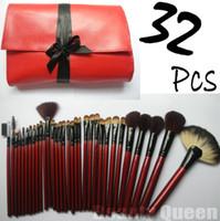 rote bürsten für haare großhandel-32pcs Berufsverfassungs-Bürsten-Kosmetik-gesetzter Qualitäts-ZIEGEN-HAAR-roter Beutel-Leder-Beutel-Kasten NEU
